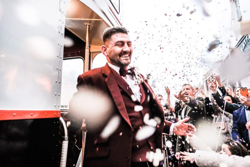 Groom in blizzard of confetti at Normanton Church