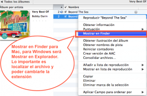 En Mac podemos elegir Finder para encontrar el archivo, pero en windows usar explorador