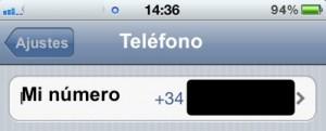 Mi número en Ajustes de iPhone
