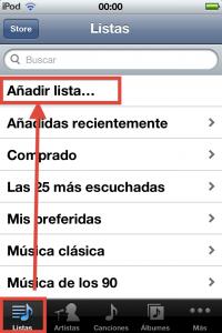 Paso 1 dentro de la app de musica pasamos a la gestion de listas