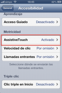 Paso 4 Activamos AssistiveTouch