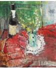 Natură statică cu sticlă de șampanie și ștergar roşu