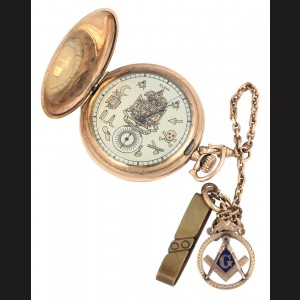Ceas de buzunar Elgin, aurit, cu lanț și medalion, decorate cu simboluri masonice