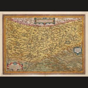 """Hartă, """"Transilvania"""", de Johannes Sambucus, tipărită de Abraham Ortelius, ediţia Orbis Terrarum, 1575"""