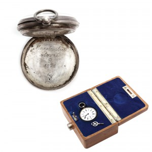 Ceas de buzunar, din argint, ce a aparţinut poetului Mihai Eminescu, cu dedicaţie din partea junimiştilor, datat 1876