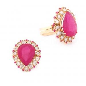 Inel din aur, decorat cu rubin și diamante