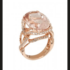 Inel entourrage din aur roz, morganit și diamante