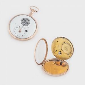 Ceas de buzunar, din aur, cu balans bătut în diamante, vizibil pe cadran, sec. XVIII, piesă extrem de rară