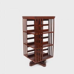 Bibliotecă rotativă, stil John Danner, din lemn de nuc
