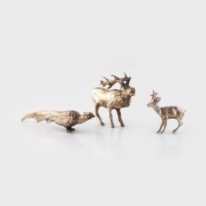 Colecție de trei animale trofeu de vânătoare, din argint