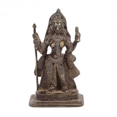"""Statuetă din bronz, colorat cu alamă și plumb, reprezentând-o pe zeiţa Baglamukhi, una dintre """"Cele zece zeițe Tantra ale hinduismului"""", India, sec. XVIII"""