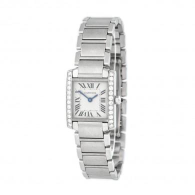 Ceas Cartier Tank Française, de mână, de damă, cu bezelul decorat cu diamante