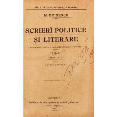 "Mihai Eminescu, ""Scrieri politice și literare"", ediție princeps, 1905"