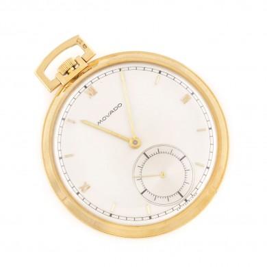 Ceas Movado în stil Art Deco, de buzunar, din aur, în cutie originală