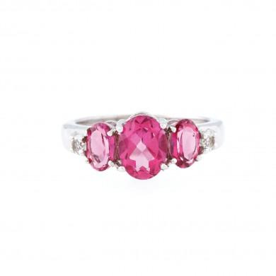 Inel din argint, decorat cu topaze roz și albe