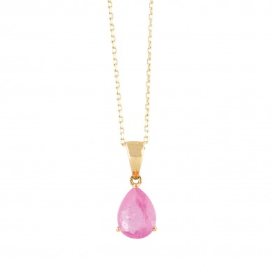 Lanț cu pandantiv din aur, decorat cu safir roz