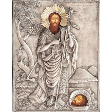 """Icoană pe lemn, """"Sfântul Ioan Botezătorul"""", atelier românesc, sec. XIX, cu ferecătură din argint"""