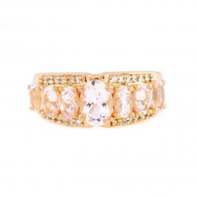 Inel din argint aurit, decorat cu morganite și topaze