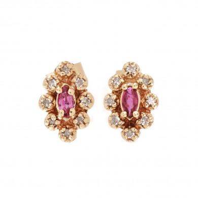 Pereche de cercei din aur, ornată cu rubine și diamante