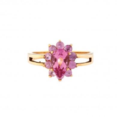 Inel din aur, decorat cu un topaz roz central anturat de safire