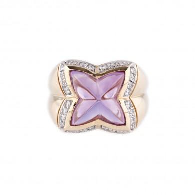 Inel din aur, decorat cu ametist și diamante