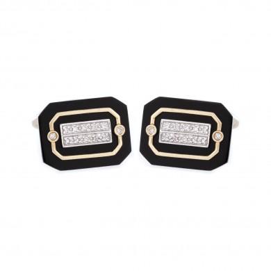 Pereche de butoni din aur, ornată cu onix și diamante