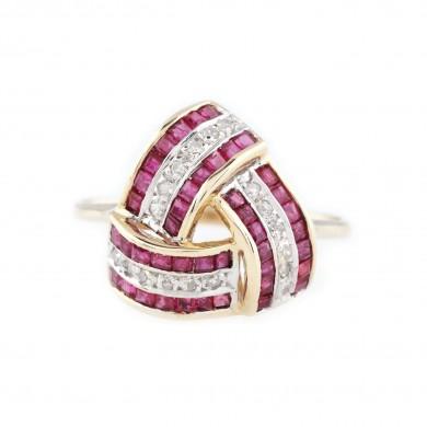 Inel din aur, decorat cu rubine și diamante