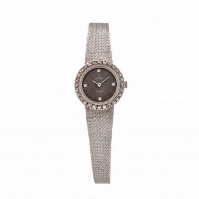 Ceas Omega De Ville, de mână, de damă, din aur alb, cu diamante