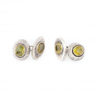 Pereche de butoni din argint, de inspirație Belle Epoque, ornată cu safire galbene