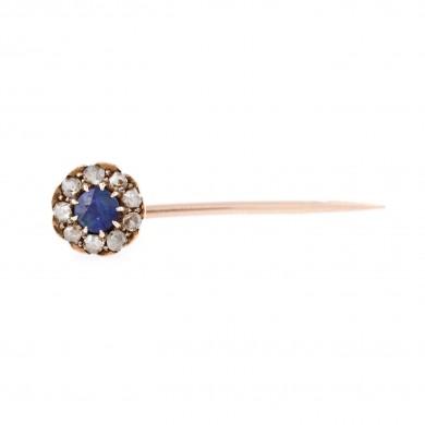 Pin din aur, decorat cu safir central și diamante anturate