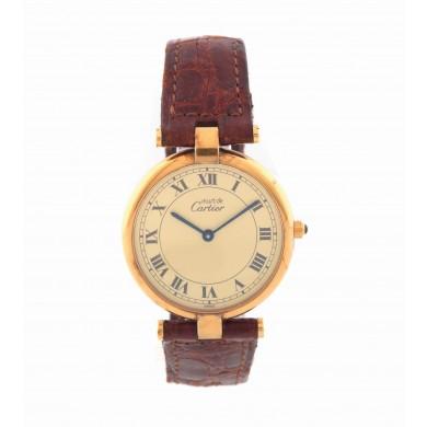 Ceas Must de Cartier Vermeil, de mână, de damă, din argint placat cu aur galben