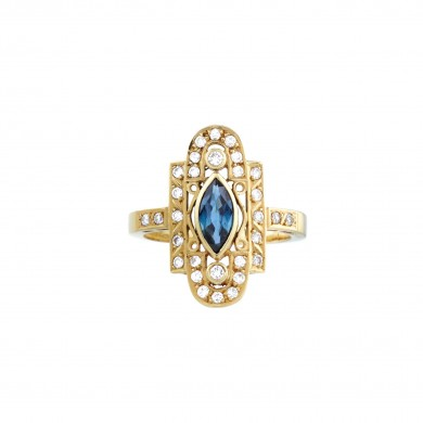 Inel din aur, de inspirație orientală, ornat cu safir central și diamante alăturate
