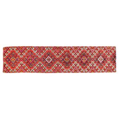 Covor maramureșan de rudă, din lână, decorat cu motive geometrice, începutul sec. XX