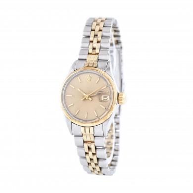 Ceas Rolex Date, de mână, de damă, din oțel și bezelul din aur