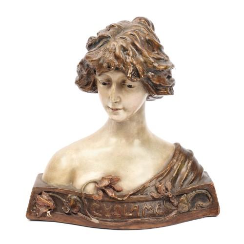 """""""Cyclame"""", bust decorativ din ceramică Art Nouveau, cca. 1900"""