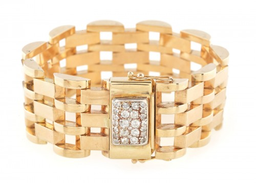 Brățară din aur, în stil Art Deco, cu închizătoarea pavată cu diamante