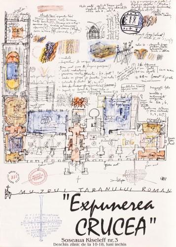"""Afișul expoziţiei """"Expunerea crucea"""", Muzeul Țăranului Român, Bucureşti, 1993"""