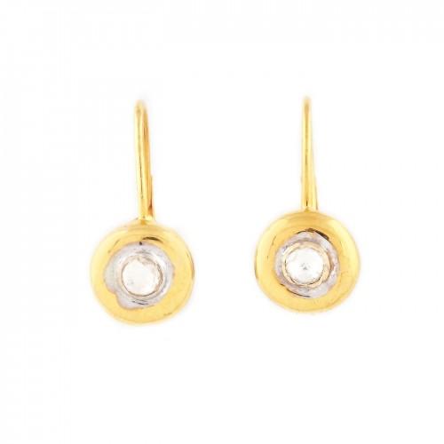 Pereche de cercei din aur, decorată cu diamante
