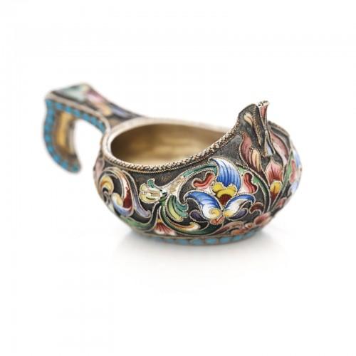 Kovsh miniatural din argint, meșter M. Sokolov, 1860-1890