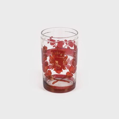Pahar din sticlă cu decor vegetal-floral, atelier Biedermeier, prima jumătate a sec. XIX