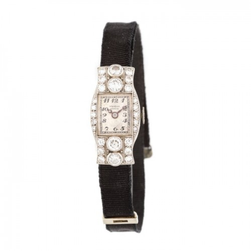 Elegant ceas Art Deco de seară, de mână, de damă, din aur alb și platină, decorat cu diamante, în cutie originală