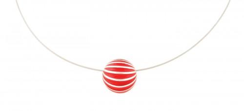 Colier Lehel semi-sferic, din argint, decorat cu striații emailate în roșu
