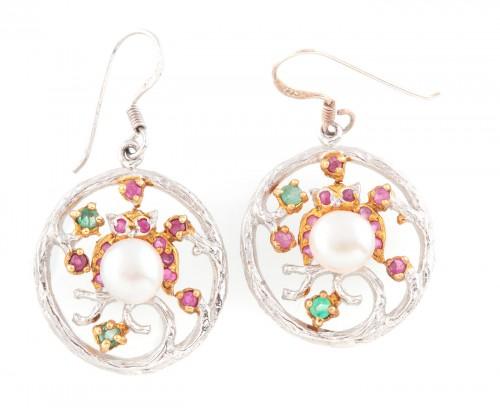 Pereche de cercei din argint aurit, decorată cu perle, rubine și smaralde