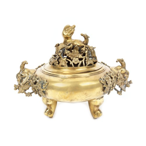 Brûle-parfum din bronz d'ore, decorat cu veverițe, marca retrospectivă Xuande, perioada Qing, China, sec. XIX