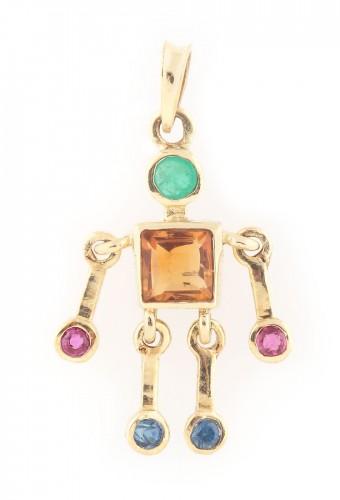 Pandantiv din aur, cu articulații mobile, decorat cu pietre prețioase