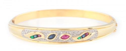 Brățară din aur, decorată cu safire, rubine, smaralde și diamante