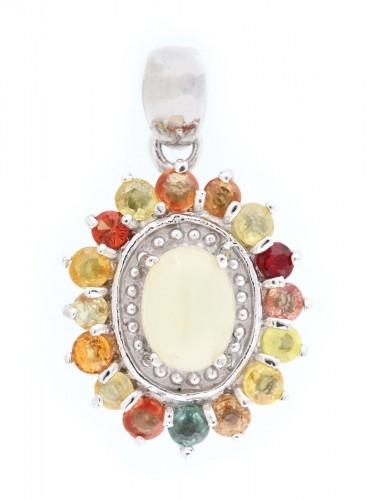 Pandantiv din argint aurit, decorat cu safire multicolore și un opal central