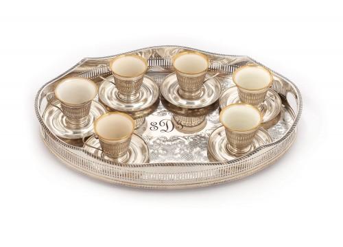 Serviciu din argint și porțelan aurit, pentru cafea, începutul sec. XX
