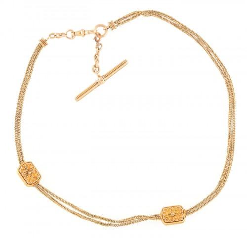 Elegant lănţişor de aur pentru ceas de buzunar, executat manual