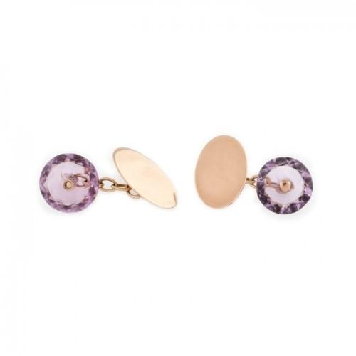 Pereche de butoni din aur, decorată cu ametiste